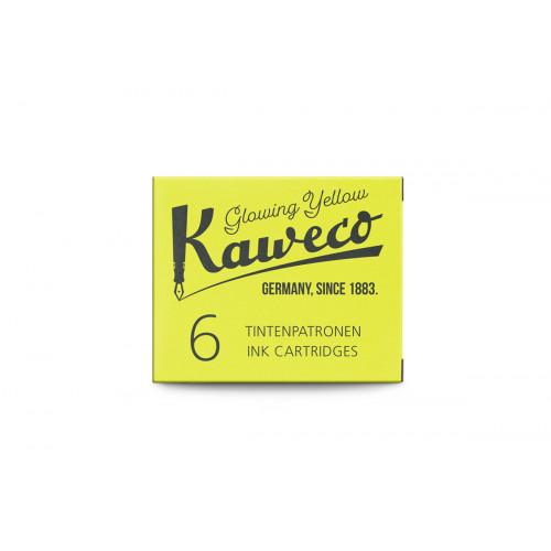 KAWECO INK CARTRIDGES - PACK OF 6 - GLOWING YELLOW